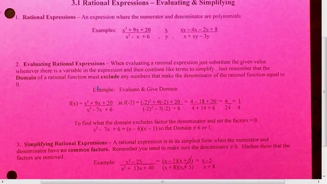 Thumbnail for entry 3.1 Rational Expression - Simpllify and Evaluate