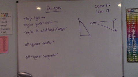 Thumbnail for entry Saxon 8/7 - Lesson 18- Polygons - Similar & Congruent