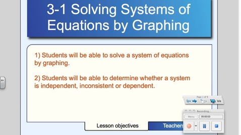 Thumbnail for entry 3-1 Solving Systems by Graphing