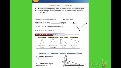 """Thumbnail for entry GeoA Lesson 4:1 """"Classifying Triangles"""""""
