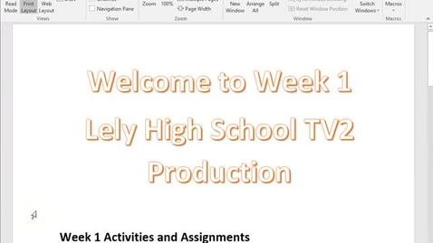 Thumbnail for entry TV2 Week 1 Instruction Video