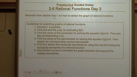 Thumbnail for entry Precalculus Section 2-6 day two Slant Asymptotes