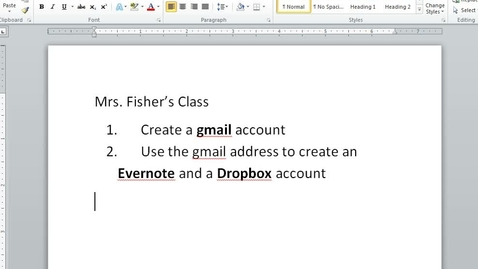 Thumbnail for entry Creating gmail, Evernote, and Dropbox Accounts