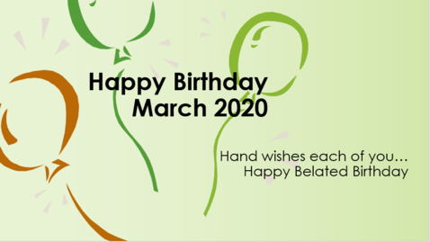 Thumbnail for entry Hand MS March Staff Birthdays 2020