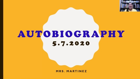 Thumbnail for entry Mini Lesson on Writing an Autobiography_5/7/2020