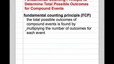 Thumbnail for entry Fundamental Counting Principle 2