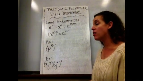 Thumbnail for entry Alg I - Sect 7-3 Multiply a Polynomial by a Monomial