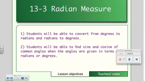 Thumbnail for entry 13-3 Radian Measure