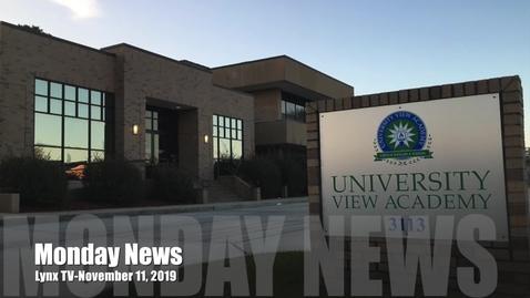 Thumbnail for entry Monday News, November 11 2019