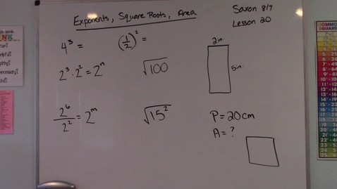 Thumbnail for entry Saxon 8/7 - Lesson 20 - Exponents, Square Roots,  Area