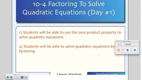 Thumbnail for entry 10-4 Solving Equations by Factoring (Day # 1)