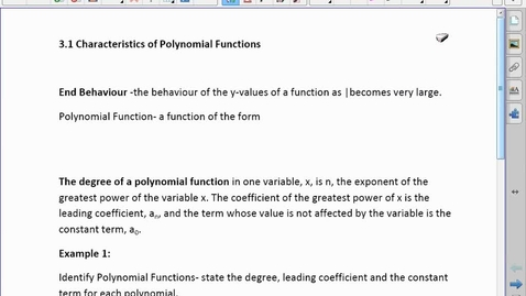 Thumbnail for entry PreCalc30 3.1 Characteristics of Polynomial Function