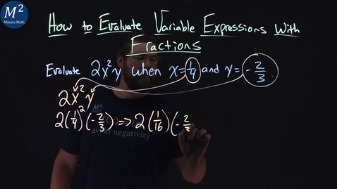 Thumbnail for entry How to Evaluate Variable Expressions with Fractions | Evaluate 2x^2y when x=1/4 and y= -2/3 | 3 of 4