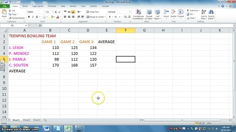 Thumbnail for entry Excel 2010 - Intro to Excel - Bowling Lesson