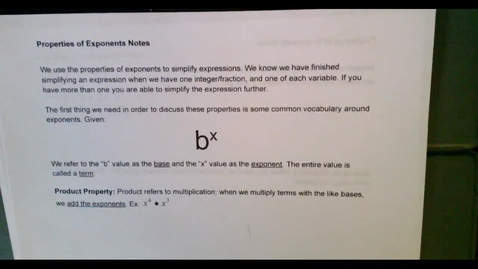 Thumbnail for entry Honors Algebra 2--Properties of Exponents