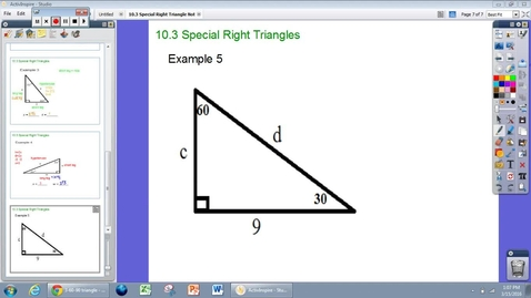 Thumbnail for entry Special Right Triangles Example #5