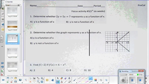 Thumbnail for entry 1-3 Precal Continuity, end behavior, and limits lesson pt 1  8-31-15