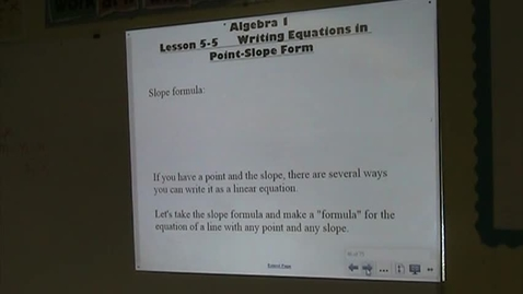 Thumbnail for entry Alg Lesson 5-5 Point Slope Form