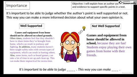 Thumbnail for entry Author's Reasoning and Evidence - 1