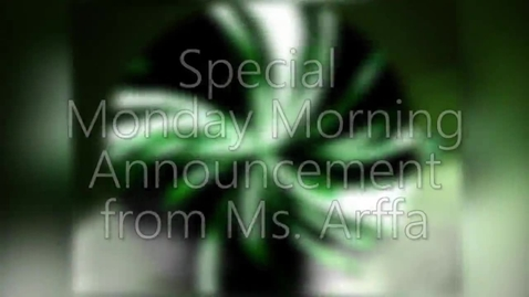 Thumbnail for entry 11-14-16 Monday Morning Special Announcements with Ms. Arffa