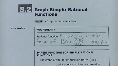 Thumbnail for entry Alg 2 Sec 8.2 Graph Simple Rational Functions