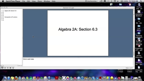 Thumbnail for entry Algebra 2A Section 6.3 (PART 1)