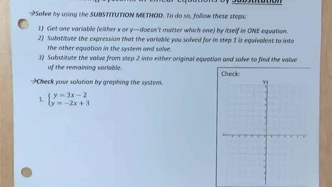Thumbnail for entry 8.2a Solving Systems of Linear Equations by Substitution