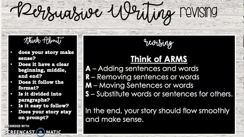 Thumbnail for entry Persuasive Writing Pt.2