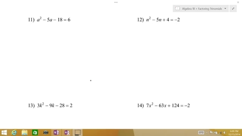 Thumbnail for entry Algebra 1B Lesson 09 #11-12