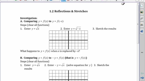 Thumbnail for entry PreCalc 30 1.2 Reflections and Stretches (good one)