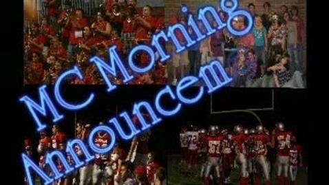 Thumbnail for entry MC Morning Announcements Nov 11th