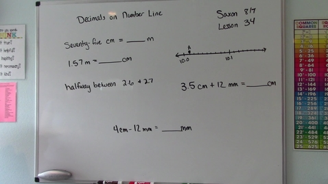 Thumbnail for entry Saxon 8/7 - Lesson 34 - Decimals on a Number Line