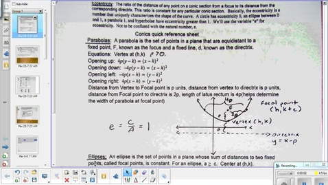 Thumbnail for entry Parabola conics lesson pt 1   4-14-15