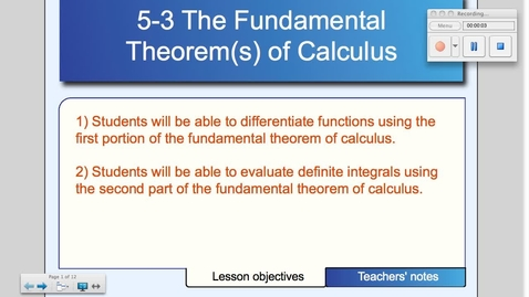 Thumbnail for entry 5-3 The Fundamental Theorem of Calculus