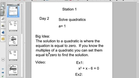 Thumbnail for entry Solving quadratics when a = 1
