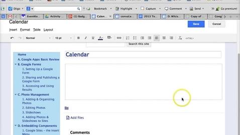 Thumbnail for entry Google Sites - INsert Calendar