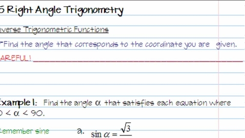 Thumbnail for entry 1.5 Right Angle Trigonometry