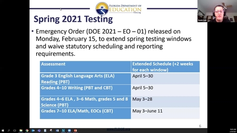 Thumbnail for entry FCSS Spring Virtual Conference Session: FDOE Test Development Center Annual Conference Update