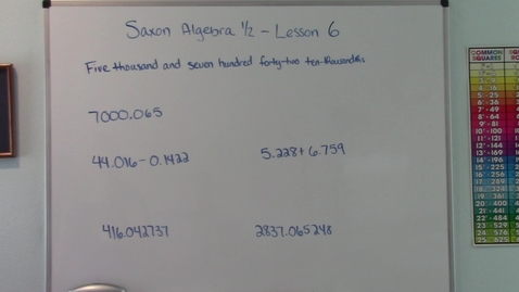 Thumbnail for entry Saxon Algebra 1/2 - Lesson 6 - Decimal Numbers - Reading & Writing - Adding & Subtracting - Rounding