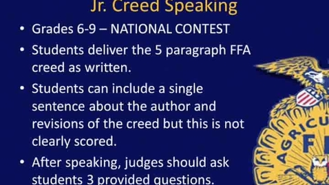 Thumbnail for entry Overview of NY FFA's Jr. Creed CDE
