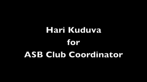 Thumbnail for entry ASB Club Coordinator Hari Kuduva