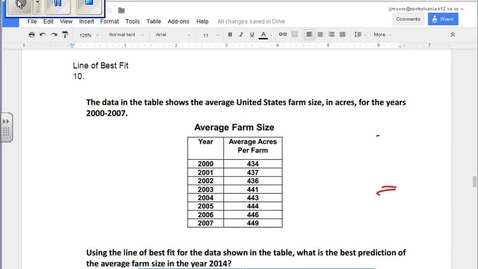 Thumbnail for entry SOL Review Question 10 Statistics Line of Best Fit