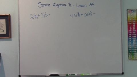 Thumbnail for entry Saxon Algebra 1/2 - Lesson 34 - Adding Mixed Numbers - Rate