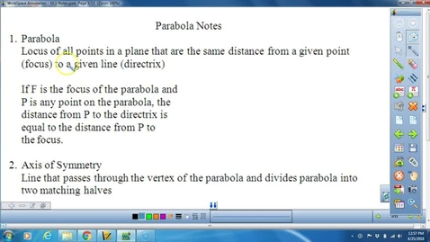 Thumbnail for entry 10.1 Lesson on Parabolas