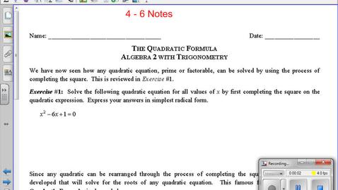 Thumbnail for entry ALG Nov 15 4 - 6 Notes Using the Quadratic Formula