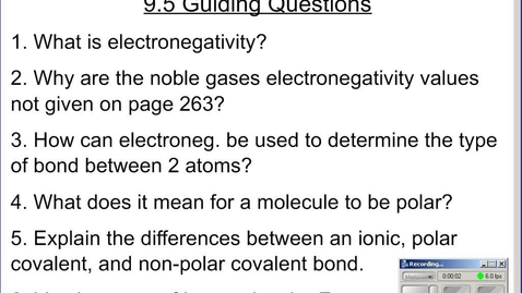 Thumbnail for entry Stephens Chemistry: Electronegativity and Molecular Polarity