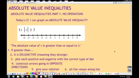 Thumbnail for entry ABSOLUTE VALUE INEQUALITIES PART 1