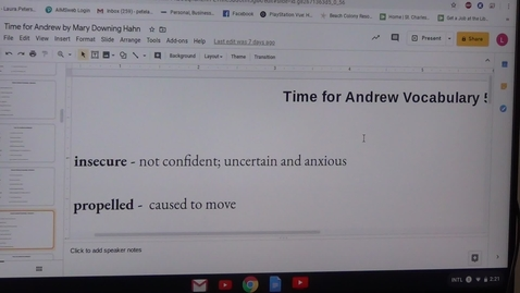 Thumbnail for entry Fifth Vocabulary Sheet for Time for Andrew by Mary Downing Hahn