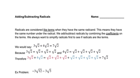 Thumbnail for entry Adding and Subtracting Radicals:Complex Numbers