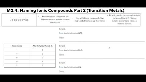 Thumbnail for entry Clip of M2.4 Naming Ionic Compounds Part 2 (Transition Metals)